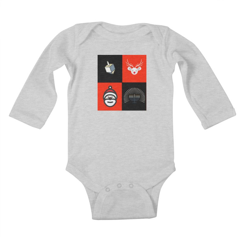 Happy Chrismukkah santa dreidel Kids Baby Longsleeve Bodysuit by chrismukkah's Artist Shop