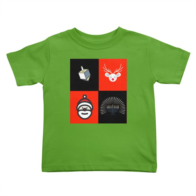 Happy Chrismukkah santa dreidel Kids Toddler T-Shirt by chrismukkah's Artist Shop
