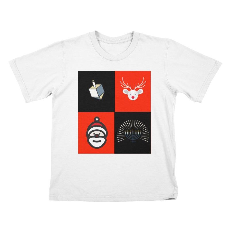 Happy Chrismukkah santa dreidel Kids T-Shirt by chrismukkah's Artist Shop