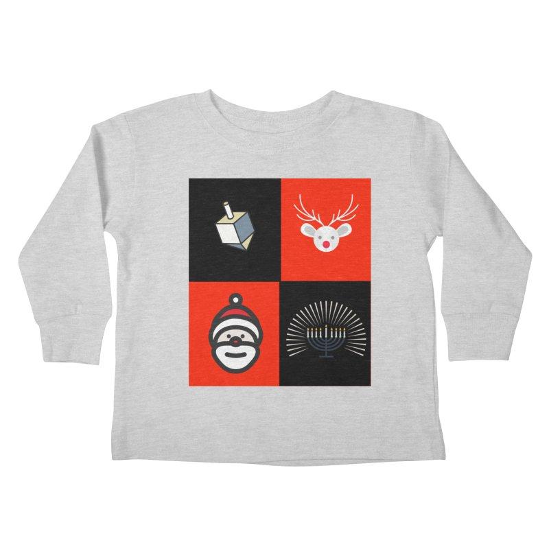 Happy Chrismukkah santa dreidel Kids Toddler Longsleeve T-Shirt by chrismukkah's Artist Shop