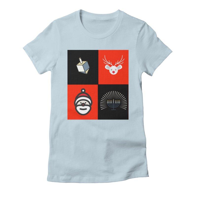 Happy Chrismukkah santa dreidel Women's Fitted T-Shirt by chrismukkah's Artist Shop