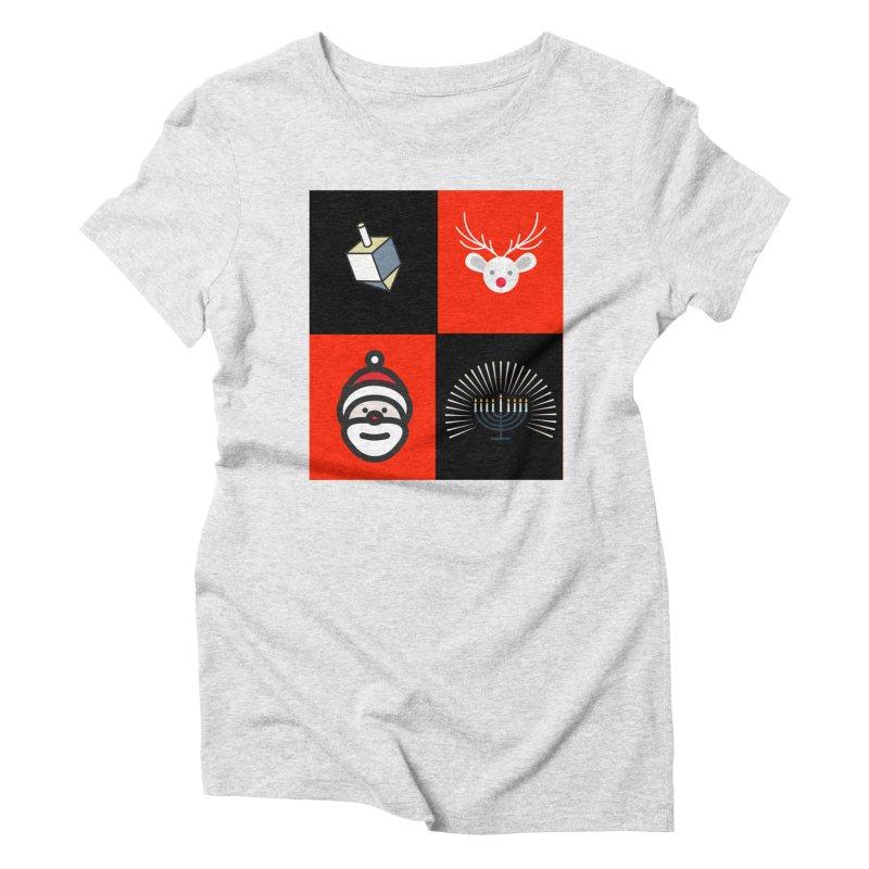 Happy Chrismukkah santa dreidel Women's Triblend T-Shirt by chrismukkah's Artist Shop