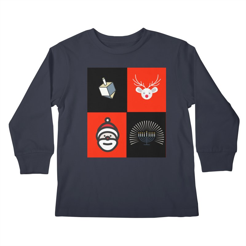 Happy Chrismukkah santa dreidel Kids Longsleeve T-Shirt by chrismukkah's Artist Shop