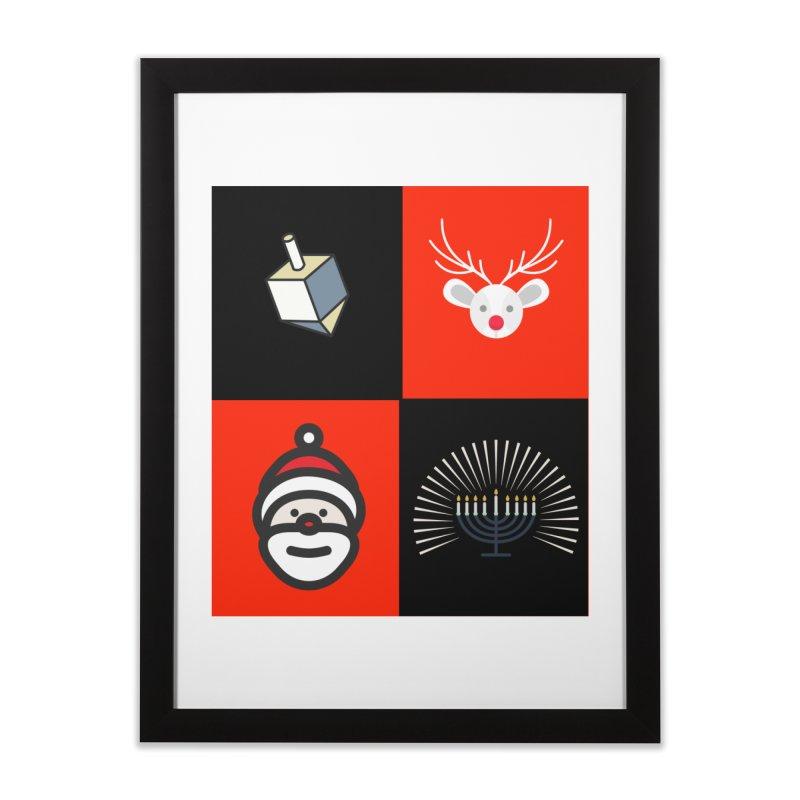 Happy Chrismukkah santa dreidel Home Framed Fine Art Print by chrismukkah's Artist Shop