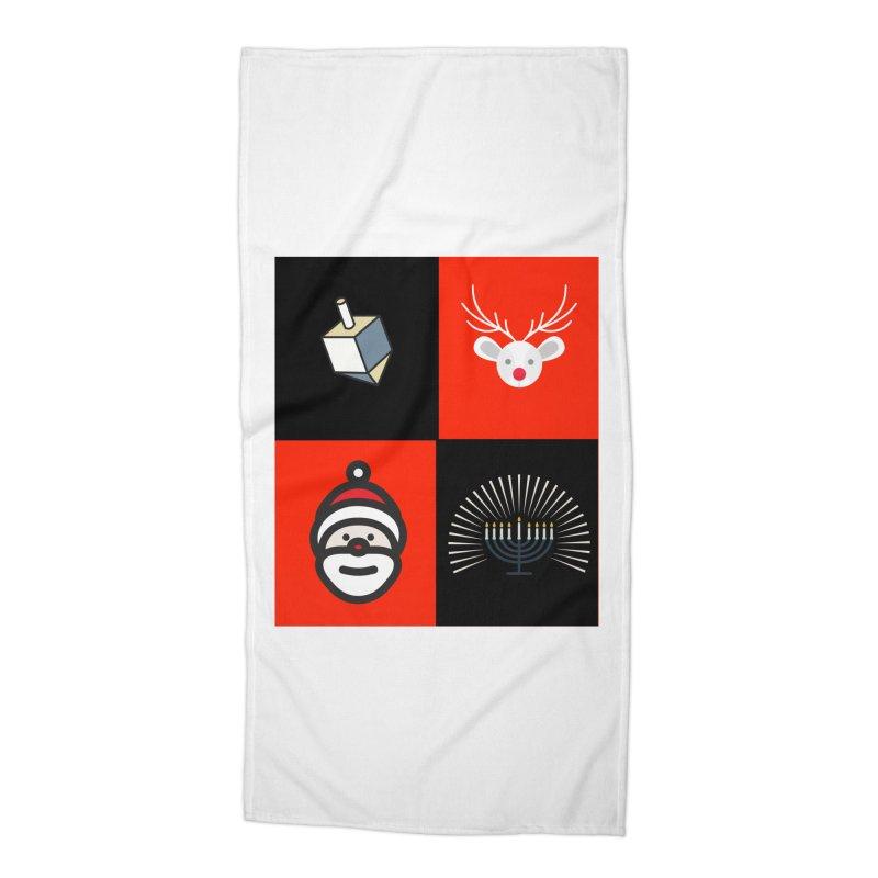 Happy Chrismukkah santa dreidel Accessories Beach Towel by chrismukkah's Artist Shop
