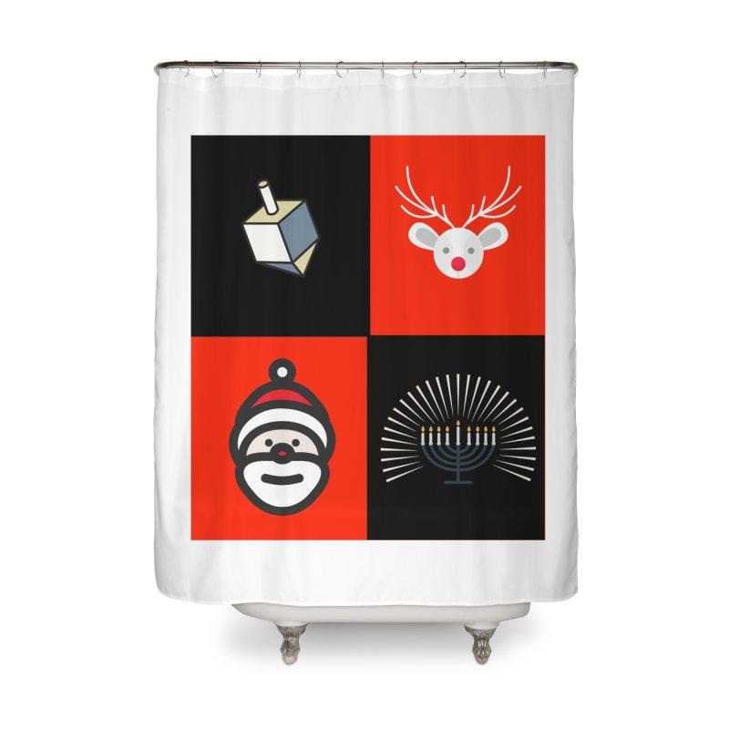 Happy Chrismukkah santa dreidel Home Shower Curtain by chrismukkah's Artist Shop