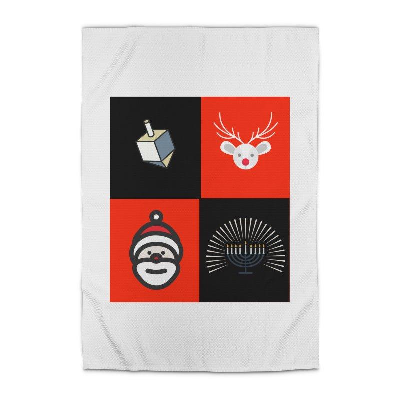 Happy Chrismukkah santa dreidel Home Rug by chrismukkah's Artist Shop
