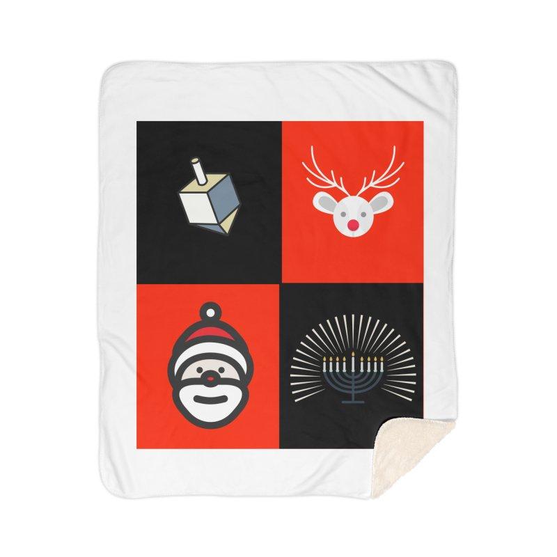 Happy Chrismukkah santa dreidel Home Sherpa Blanket Blanket by chrismukkah's Artist Shop