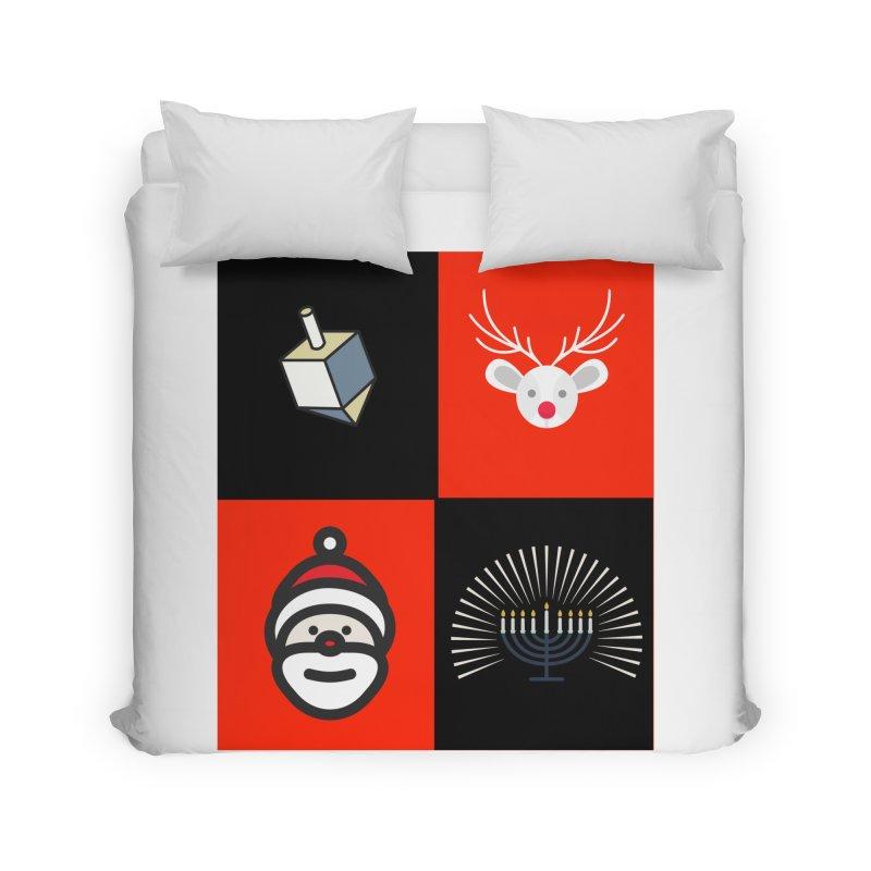 Happy Chrismukkah santa dreidel Home Duvet by chrismukkah's Artist Shop