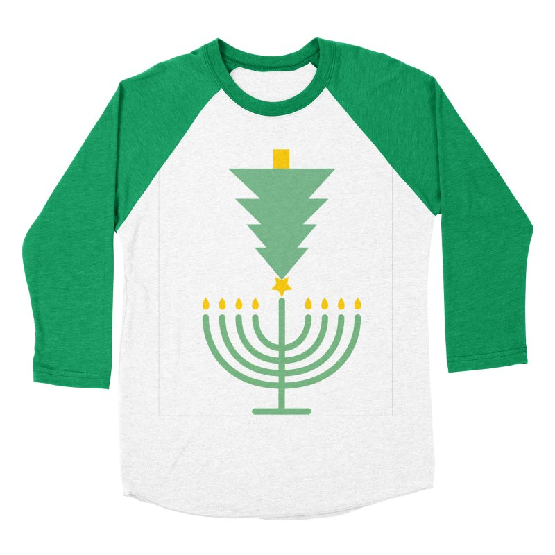 Happy Chrismukkah in Men's Baseball Triblend T-Shirt Tri-Kelly Sleeves by chrismukkah's Artist Shop