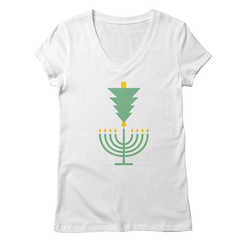 Happy Chrismukkah Women's Regular V-Neck by chrismukkah's Artist Shop