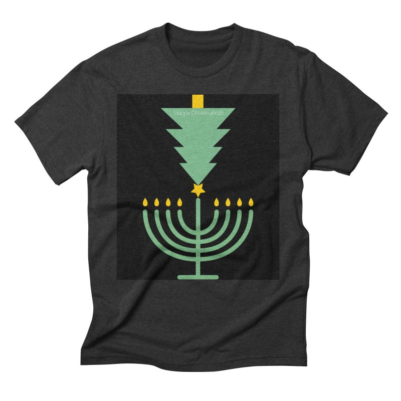 Happy Chrismukkah black Men's Triblend T-Shirt by chrismukkah's Artist Shop