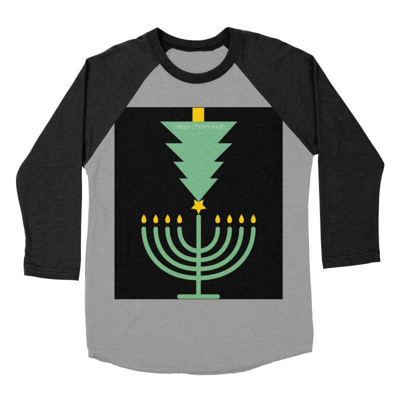 Happy Chrismukkah black Women's Baseball Triblend Longsleeve T-Shirt by chrismukkah's Artist Shop