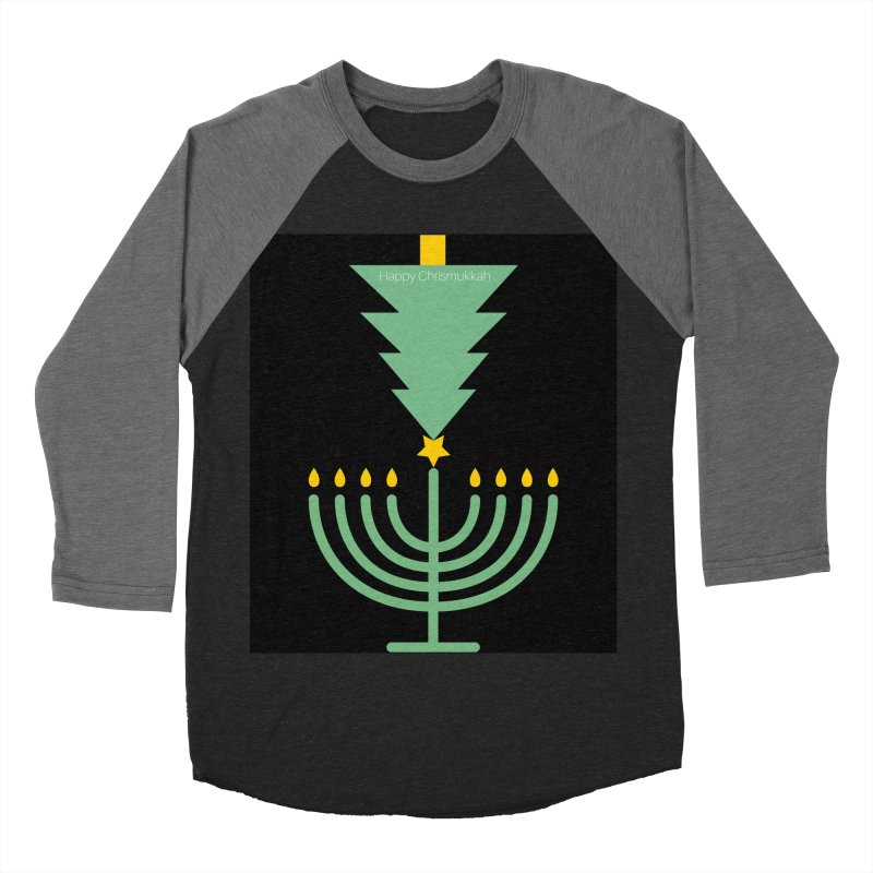 Happy Chrismukkah black Men's Baseball Triblend Longsleeve T-Shirt by chrismukkah's Artist Shop