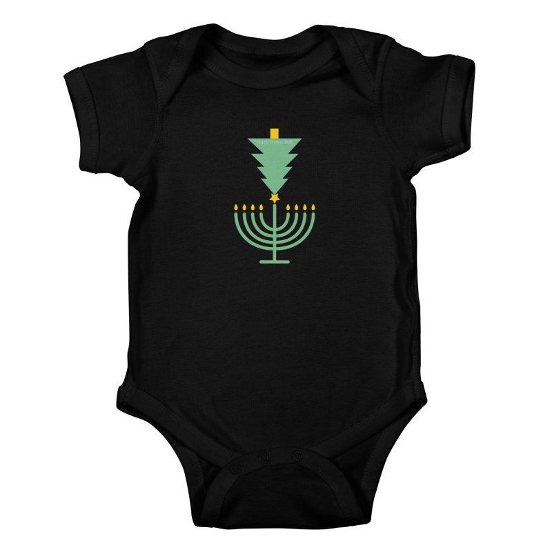 Happy Chrismukkah black Kids Baby Bodysuit by chrismukkah's Artist Shop