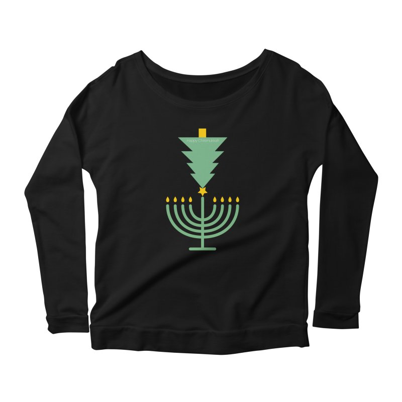 Happy Chrismukkah black Women's Scoop Neck Longsleeve T-Shirt by chrismukkah's Artist Shop