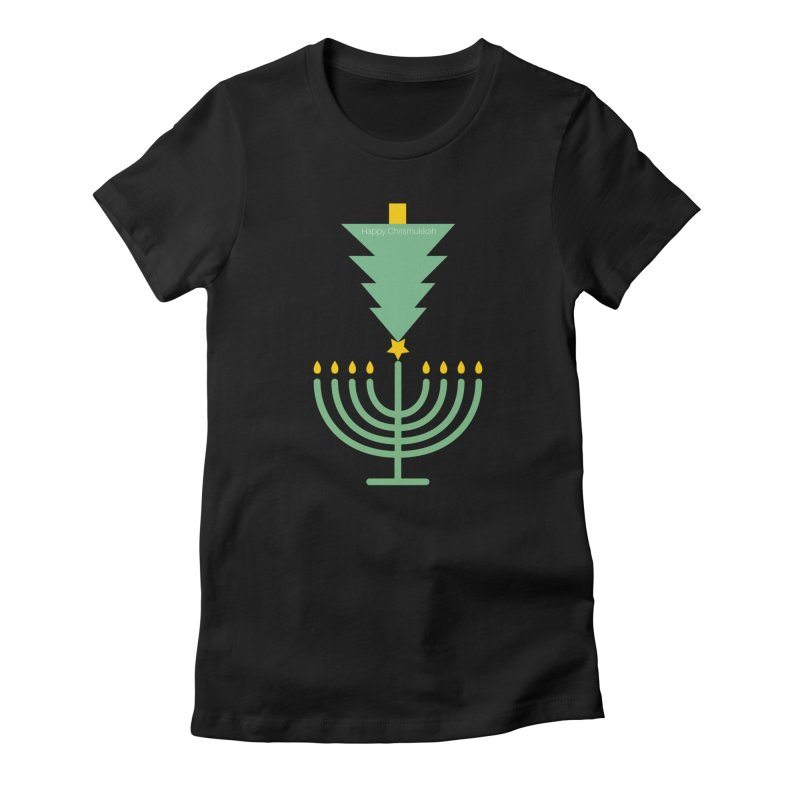 Happy Chrismukkah black Women's Fitted T-Shirt by chrismukkah's Artist Shop