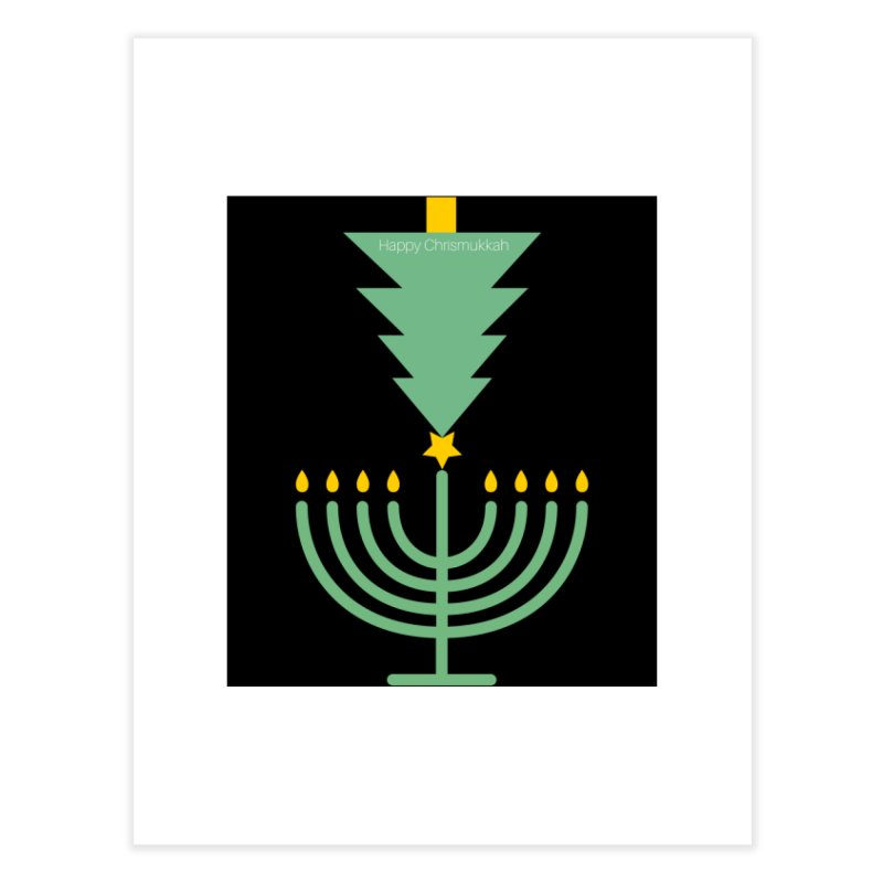 Happy Chrismukkah black Home Fine Art Print by chrismukkah's Artist Shop