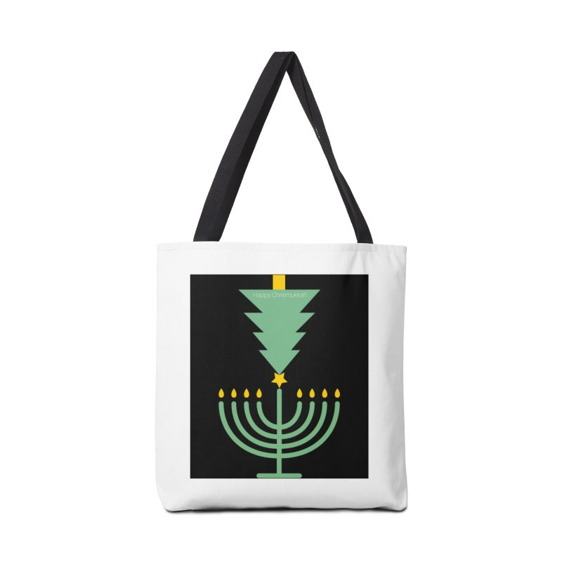 Happy Chrismukkah black Accessories Tote Bag Bag by chrismukkah's Artist Shop