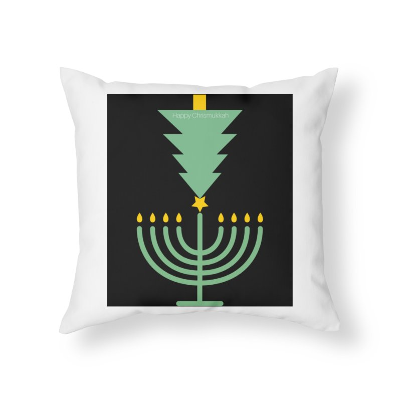 Happy Chrismukkah black Home Throw Pillow by chrismukkah's Artist Shop