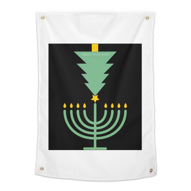 Happy Chrismukkah black Home Tapestry by chrismukkah's Artist Shop