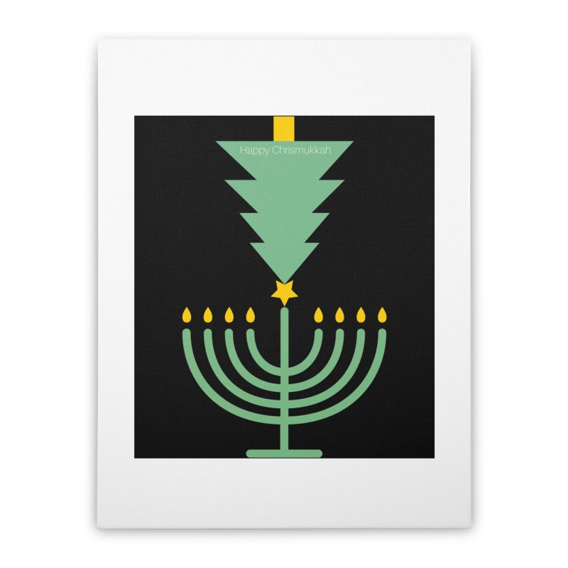 Happy Chrismukkah black Home Stretched Canvas by chrismukkah's Artist Shop