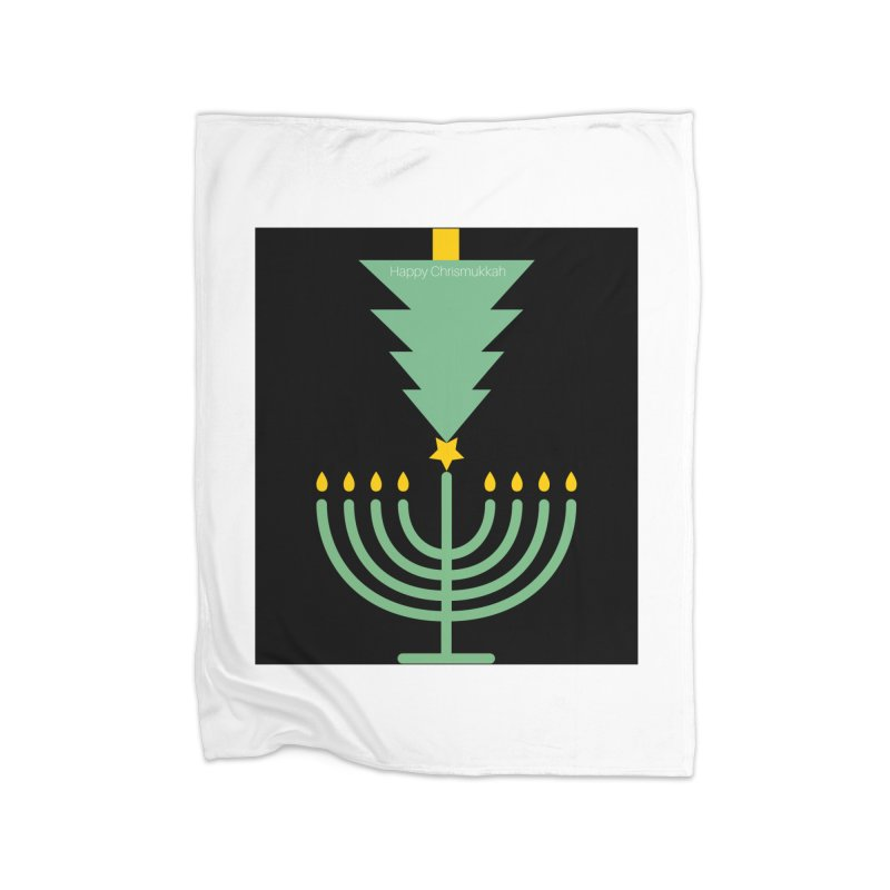 Happy Chrismukkah black Home Fleece Blanket Blanket by chrismukkah's Artist Shop