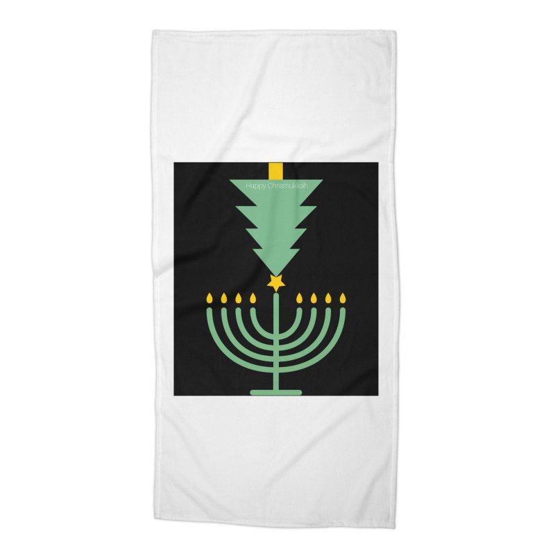 Happy Chrismukkah black Accessories Beach Towel by chrismukkah's Artist Shop