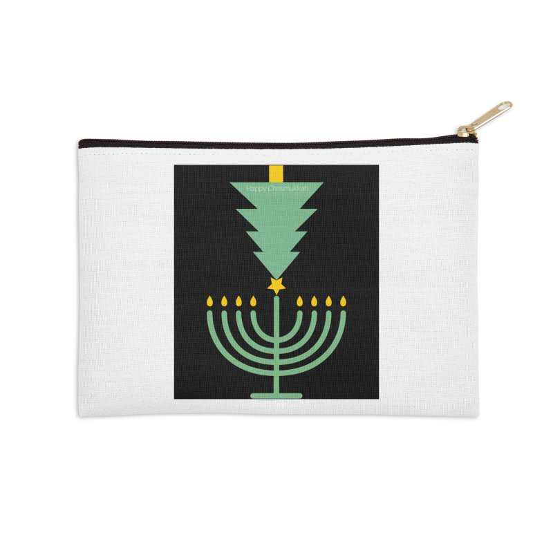 Happy Chrismukkah black Accessories Zip Pouch by chrismukkah's Artist Shop