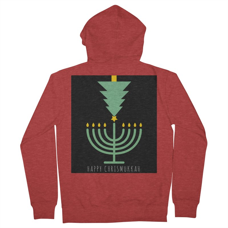 Happy Chrismukkah (with text) Women's French Terry Zip-Up Hoody by chrismukkah's Artist Shop
