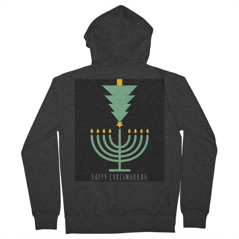 Happy Chrismukkah (with text) Men's French Terry Zip-Up Hoody by chrismukkah's Artist Shop