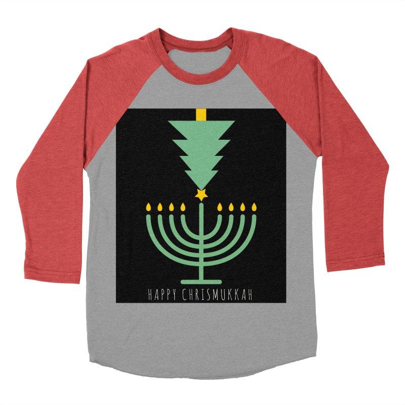 Happy Chrismukkah (with text) Women's Baseball Triblend Longsleeve T-Shirt by chrismukkah's Artist Shop