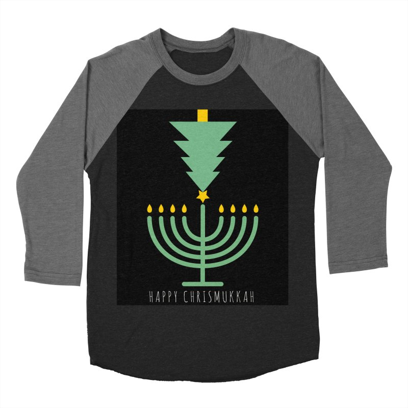 Happy Chrismukkah (with text) Women's Baseball Triblend Longsleeve T-Shirt by chrismukkah's Artist Shop