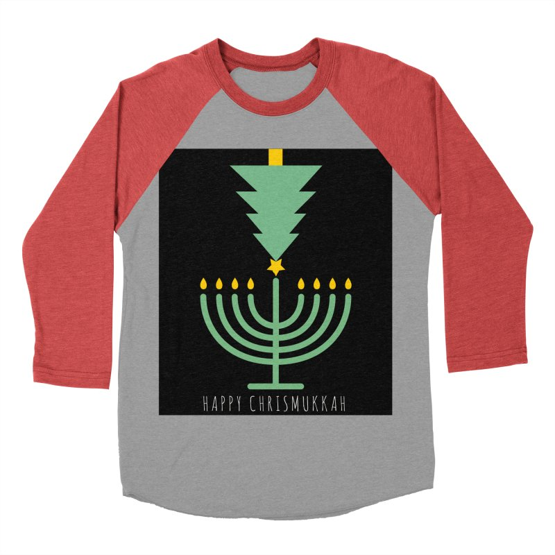 Happy Chrismukkah (with text) Men's Baseball Triblend T-Shirt by chrismukkah's Artist Shop