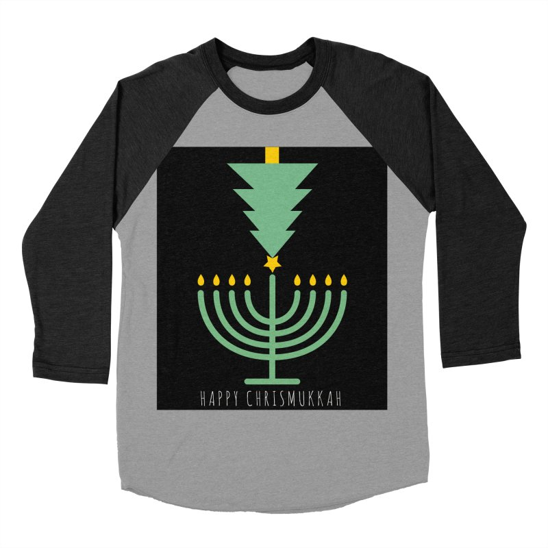 Happy Chrismukkah (with text) Men's Baseball Triblend Longsleeve T-Shirt by chrismukkah's Artist Shop