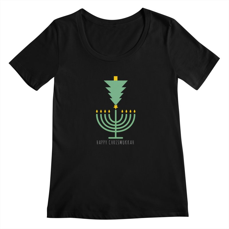 Happy Chrismukkah (with text) Women's Scoopneck by chrismukkah's Artist Shop