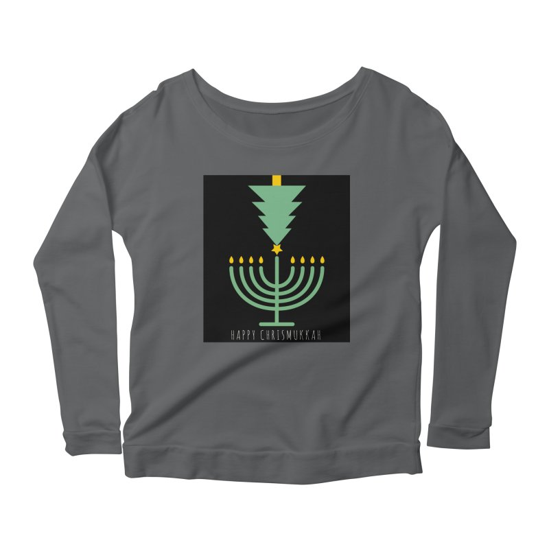 Happy Chrismukkah (with text) Women's Scoop Neck Longsleeve T-Shirt by chrismukkah's Artist Shop