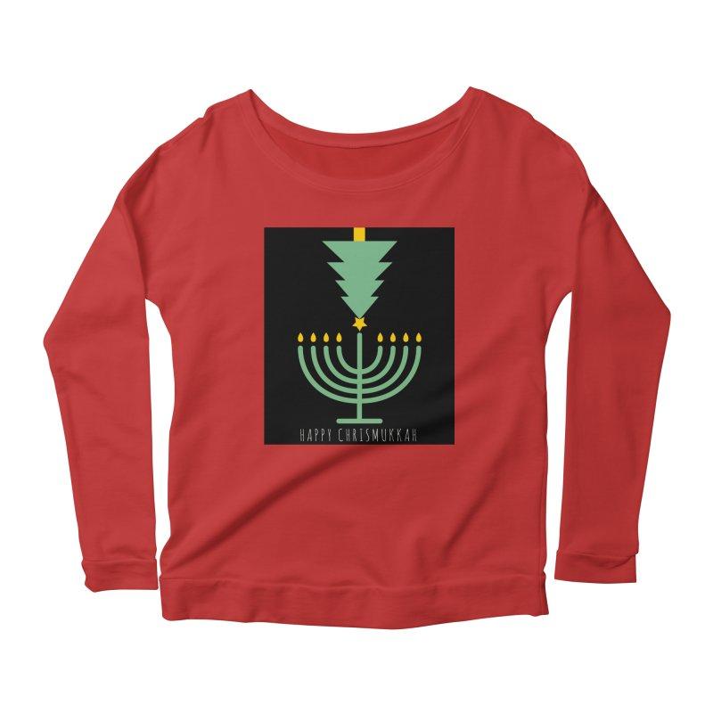 Happy Chrismukkah (with text) Women's Scoop Neck Longsleeve T-Shirt by chrismukkah's Artist Shop