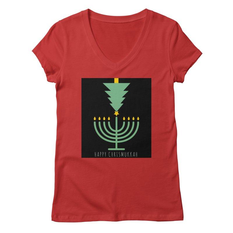 Happy Chrismukkah (with text) Women's Regular V-Neck by chrismukkah's Artist Shop