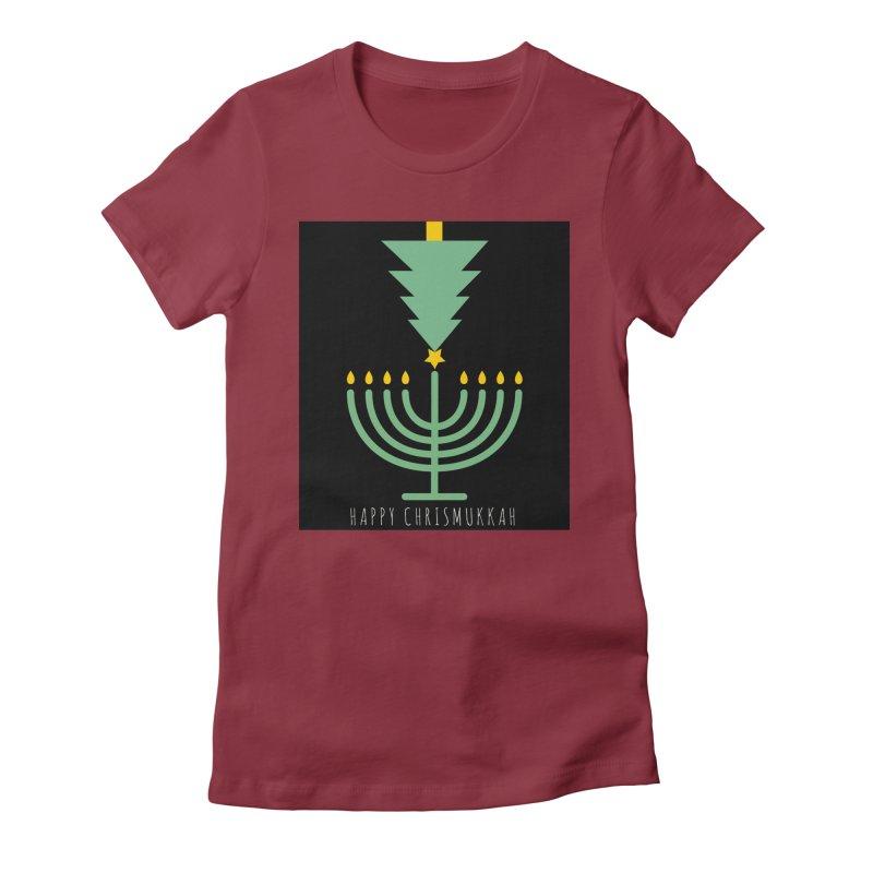 Happy Chrismukkah (with text) Women's T-Shirt by chrismukkah's Artist Shop