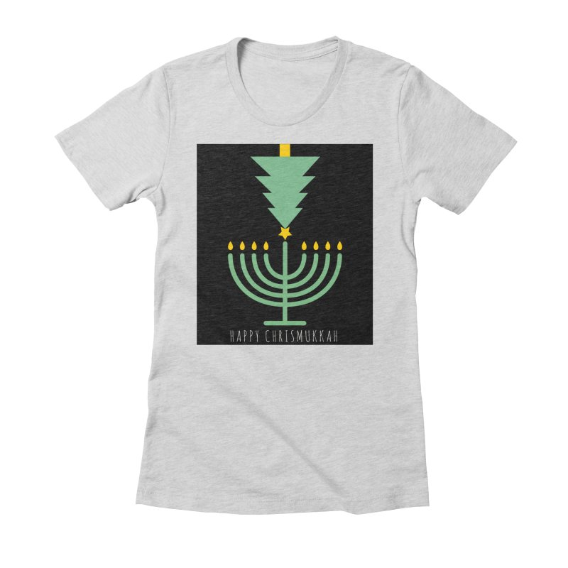 Happy Chrismukkah (with text) Women's Fitted T-Shirt by chrismukkah's Artist Shop
