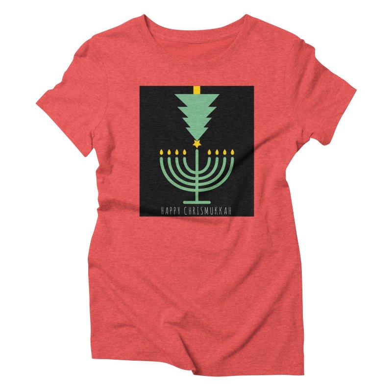 Happy Chrismukkah (with text) Women's Triblend T-Shirt by chrismukkah's Artist Shop
