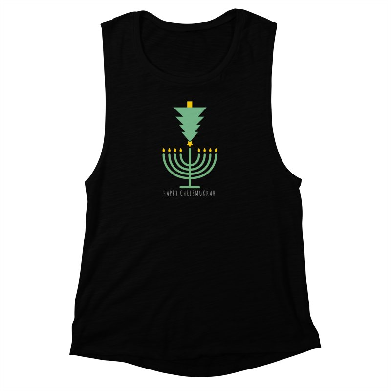 Happy Chrismukkah (with text) Women's Muscle Tank by chrismukkah's Artist Shop