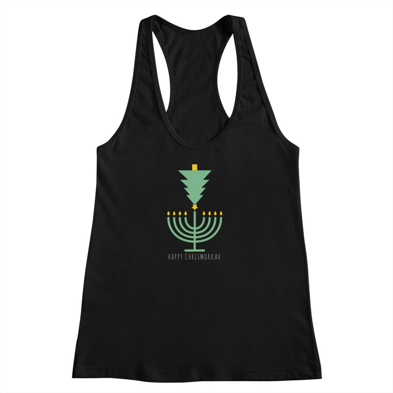 Happy Chrismukkah (with text) Women's Racerback Tank by chrismukkah's Artist Shop