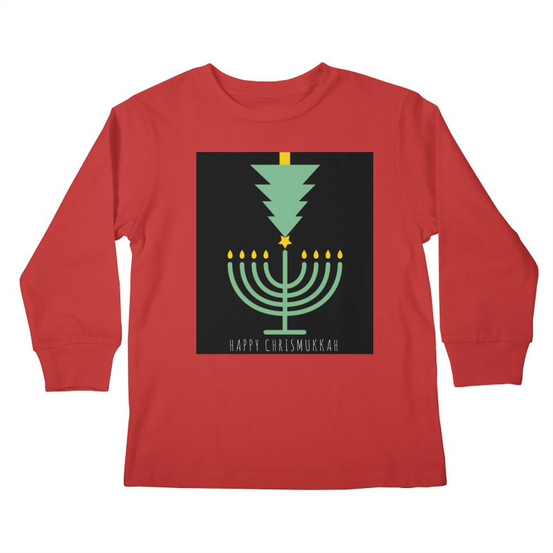 Happy Chrismukkah (with text) Kids Longsleeve T-Shirt by chrismukkah's Artist Shop