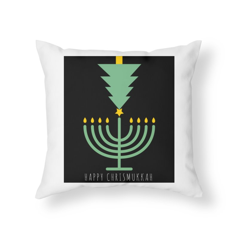 Happy Chrismukkah (with text) Home Throw Pillow by chrismukkah's Artist Shop