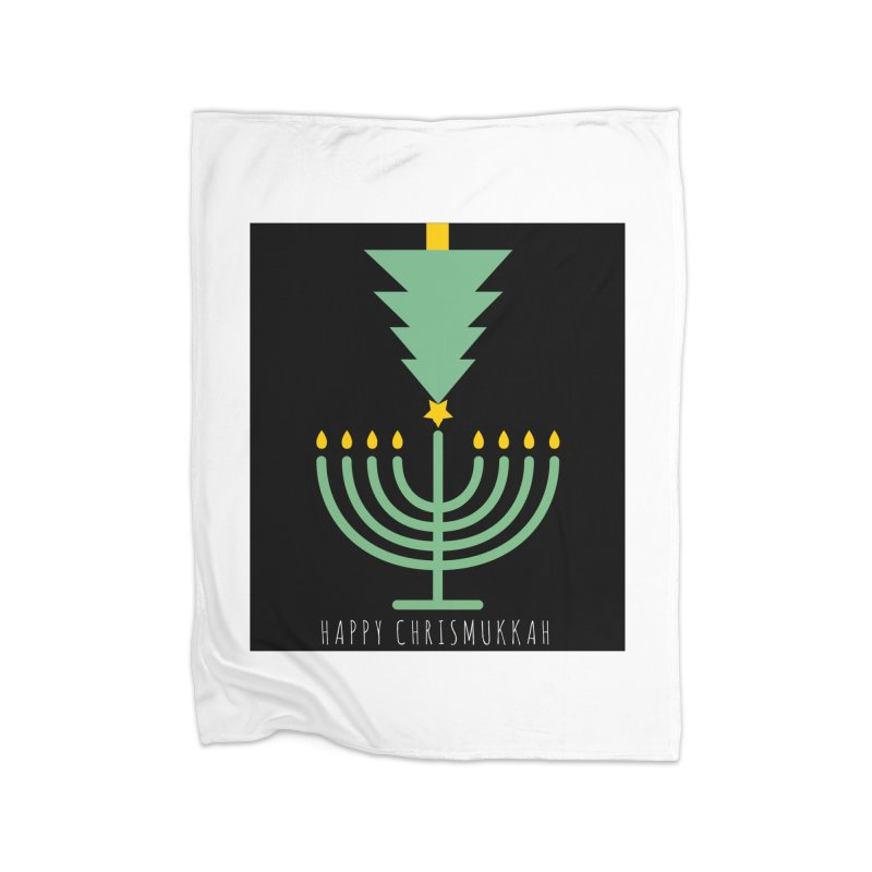 Happy Chrismukkah (with text) Home Fleece Blanket Blanket by chrismukkah's Artist Shop