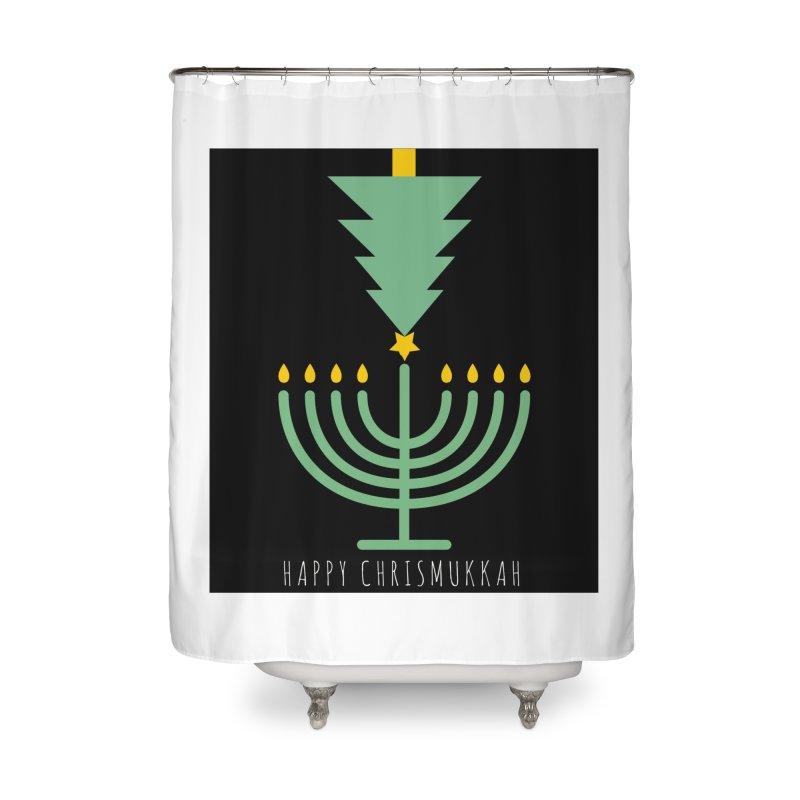 Happy Chrismukkah (with text) Home Shower Curtain by chrismukkah's Artist Shop