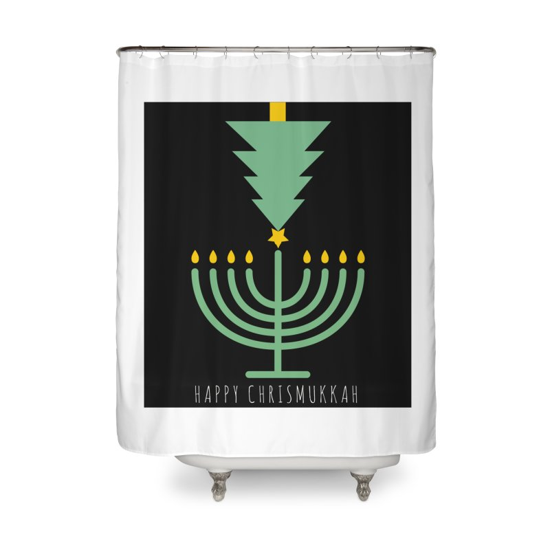 Happy Chrismukkah (with text) Home Shower Curtain by chrismukkah's Artist Shop