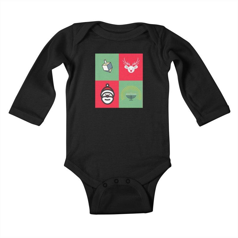 chrismukkah Kids Baby Longsleeve Bodysuit by chrismukkah's Artist Shop